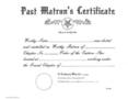 OES PAST MATRON'S CERTIFICATE