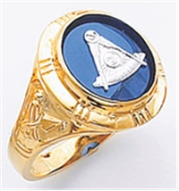 Past Master ring Round stone, Compass & Quadrant with Sun - 10K Y&WG