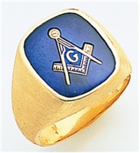 "Master Mason Rings Square stone with S&C and ""G"" - 10KYG"