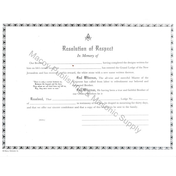 Masonic Resolution of Respect with Envelope