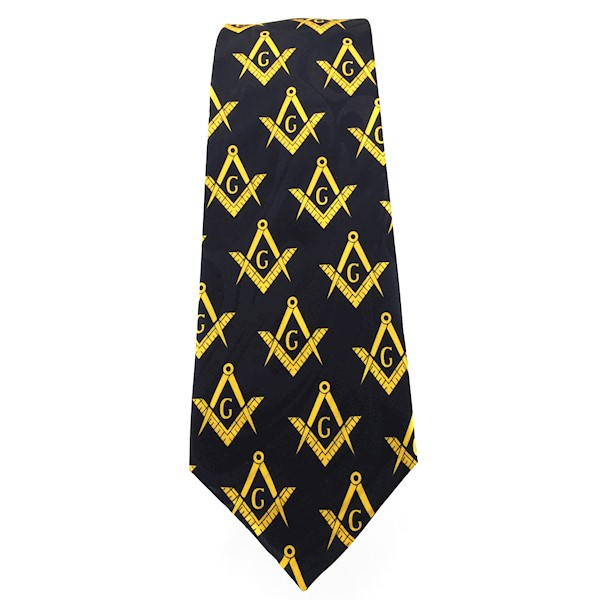 Masonic tie black w/yellow emblems