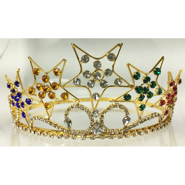 OES Crown in gold tone colored stones in 5 stars