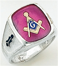 "Master Mason Ring Square stone with S&C and ""G"" - Sterling Silver"