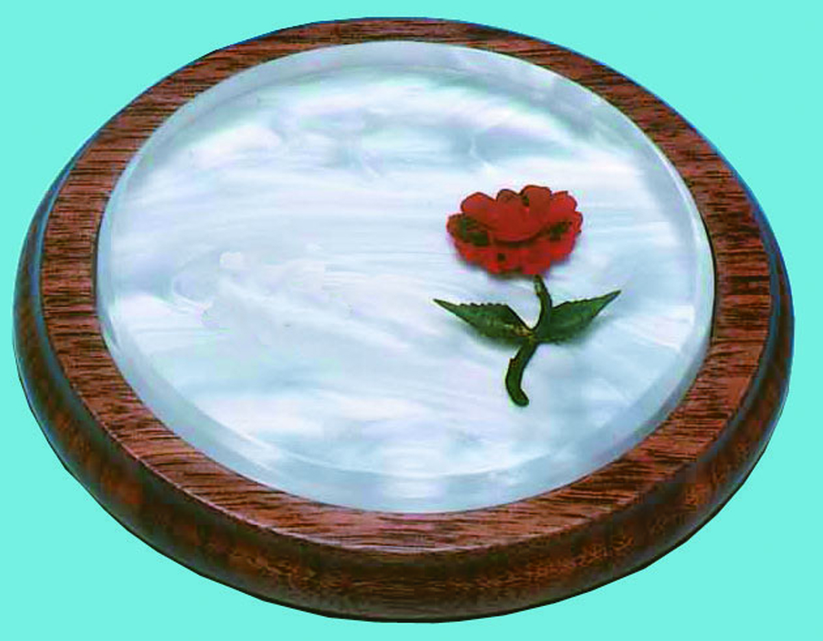WOOD & LUCITE SOUND BLOCK with RED ROSE