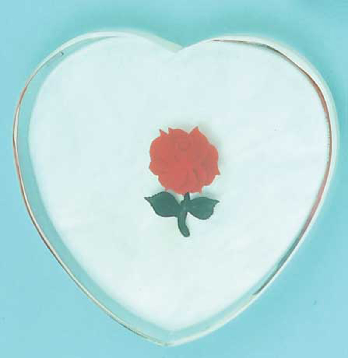 HEART SHAPED LUCITE SOUND BLOCK W/RED ROSE 3 1/2""