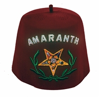 Amaranth Fez with Rhinestone letters - Yellow tassel