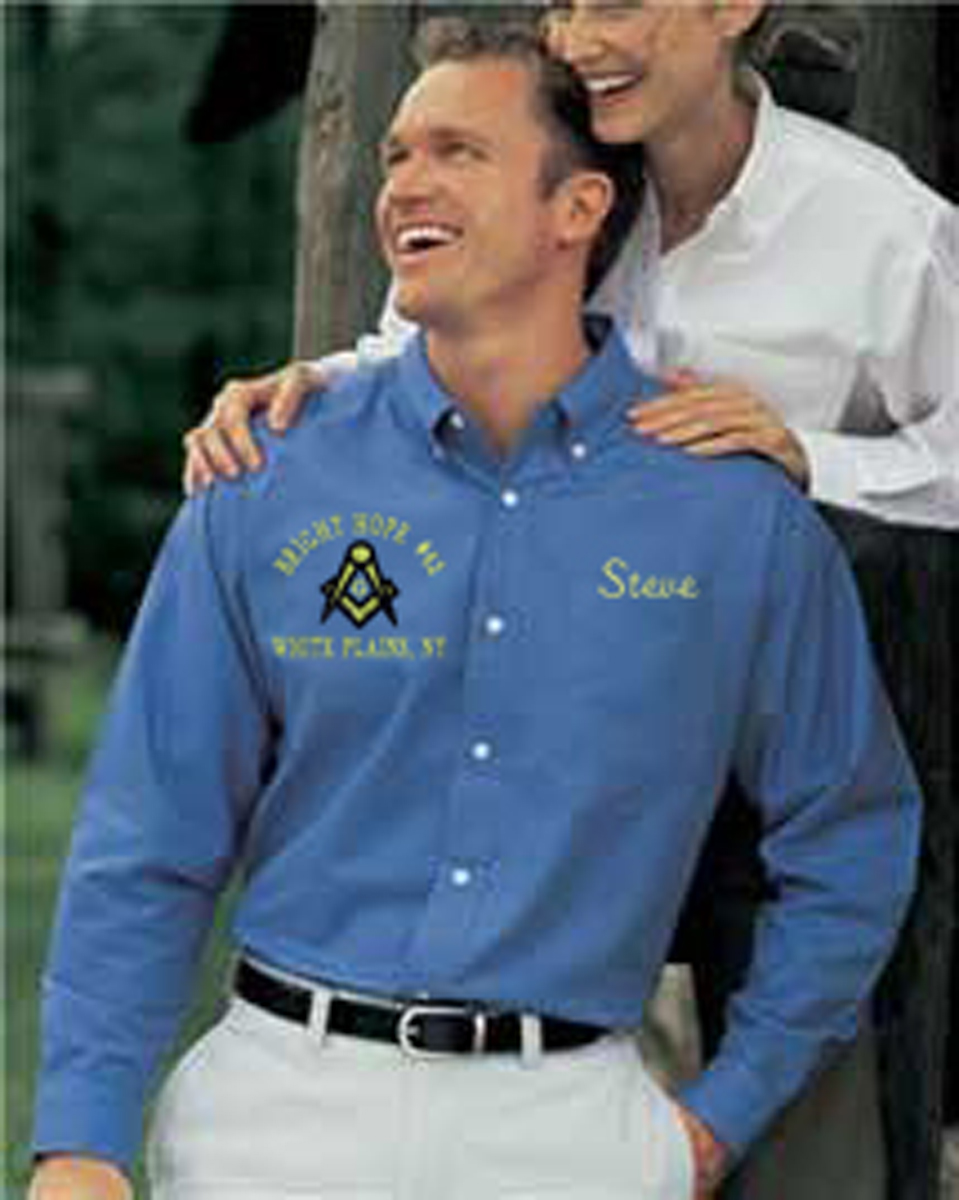 Masonic Blue Lodge Long Sleeve Oxford Shirt
