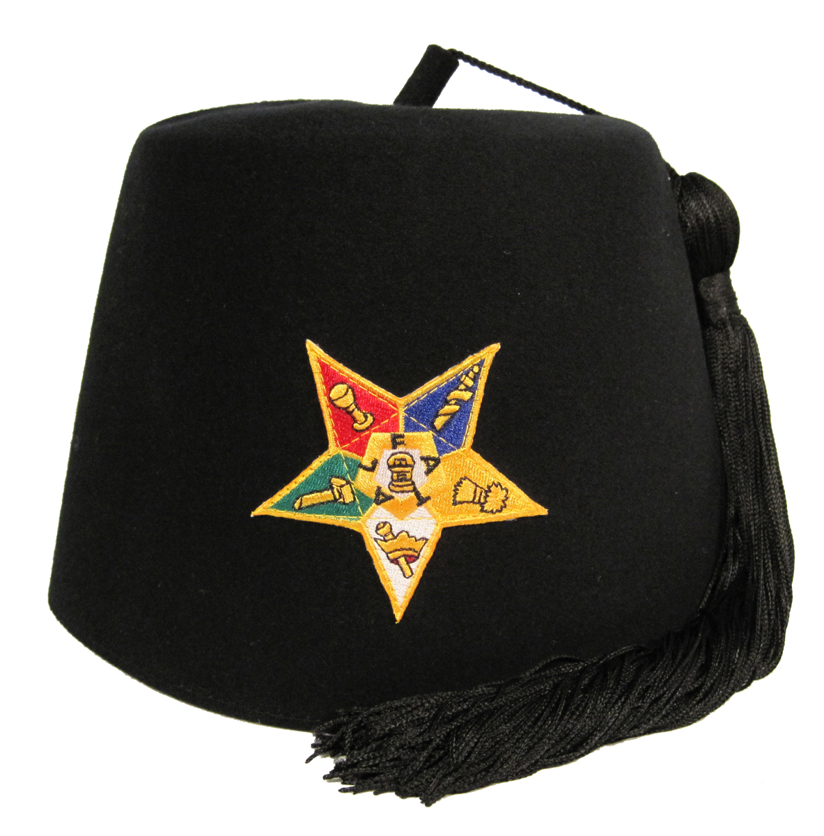 "OES Black Stock fez with Star and Black 12"" tassel"