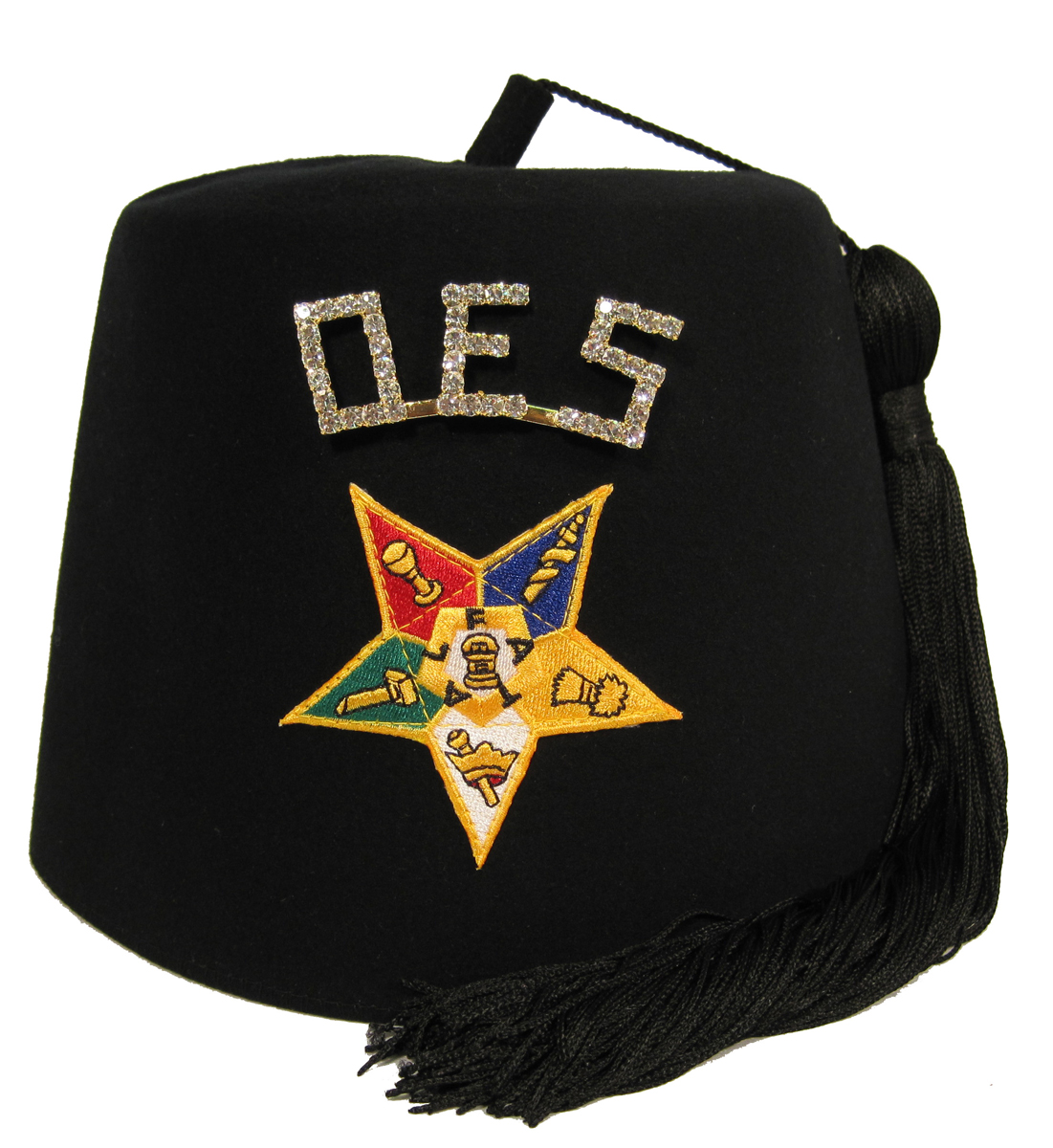 "OES Black Star Fez with 1"" OES rhinestone pin"