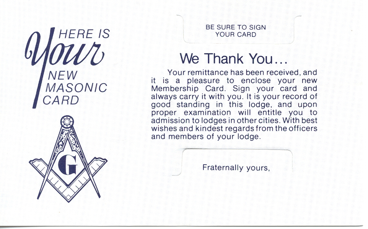 Masonic Dues Receipt Holder w/ Printing (250)