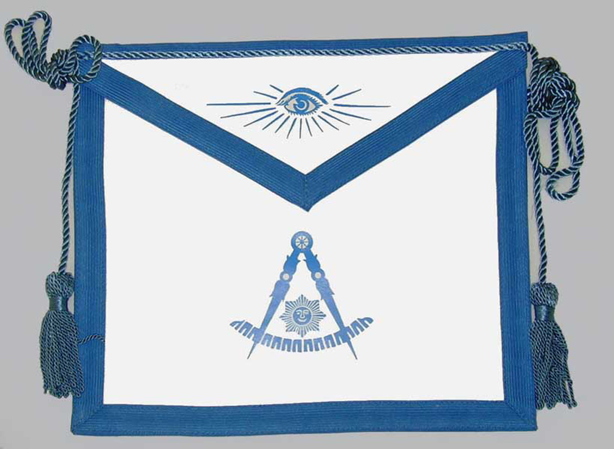 Masonic Past Master Apron with Yellow Gold Fringe
