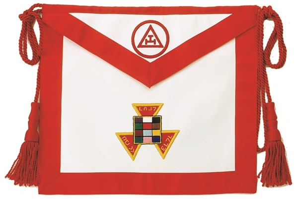 Royal Arch Past High Priest Apron with Triple Tau in circle