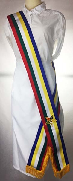 Lined 5 color ribbon sash Blue to Face