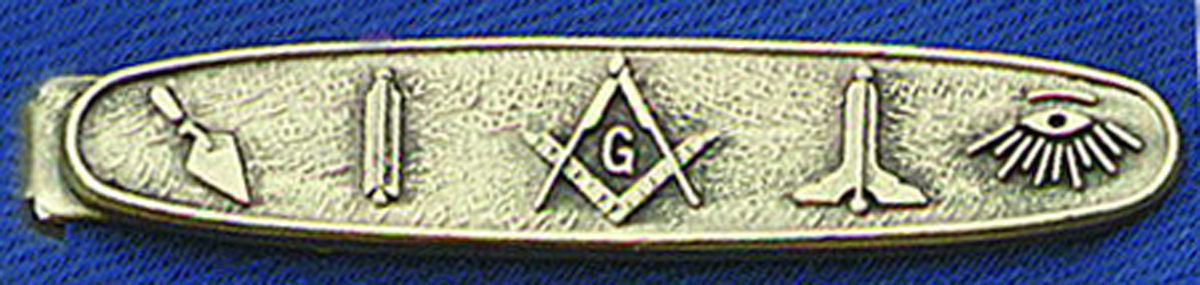 Masonic Tie Bar  Working Tools in antique silvertone