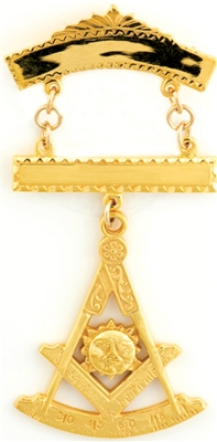 Past Master Swinger Jewel. 10K YG.  Two bars with Square , Compass , Quadrant  & Sun.