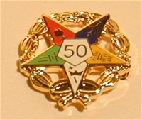 OES 50 year service pin with wreath