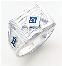 "Master Mason ring Square front & S,C and ""G"" on open Bible - Sterling Silver"