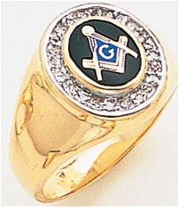 Masonic ring with 1/8 ct diamonds - 5049