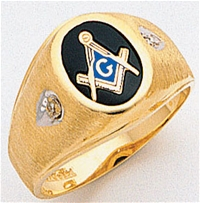 "Masonic rings Round stone with S&C and ""G"" - 10KYG"