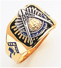 Past Master ring Square front, Compass & Quadrant with Sun - 10K Y&WG
