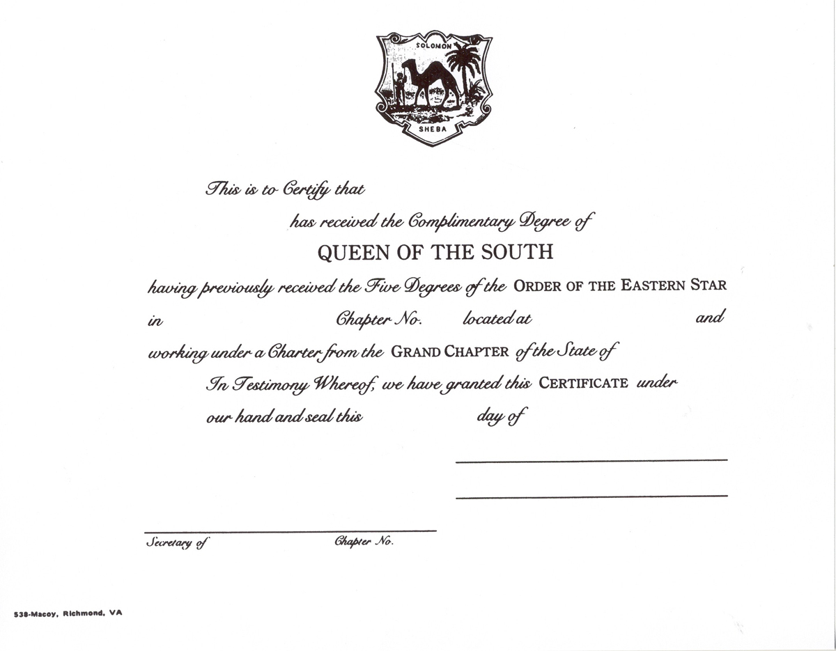 Queen of the South Certificate