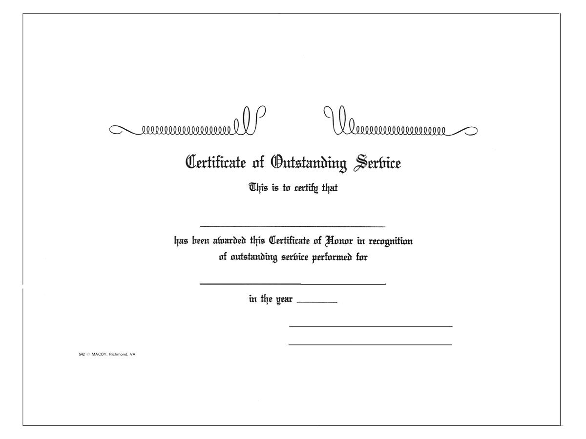 Outstanding Service Certificate (Specify Emblem)