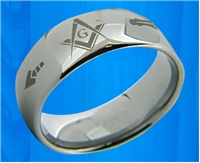 Masonic Ring 8mm Tungsten band ring with Masonic symbols