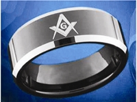 Masonic Ring 8mm Black Plated Tungsten band style ring with Masonic symbol