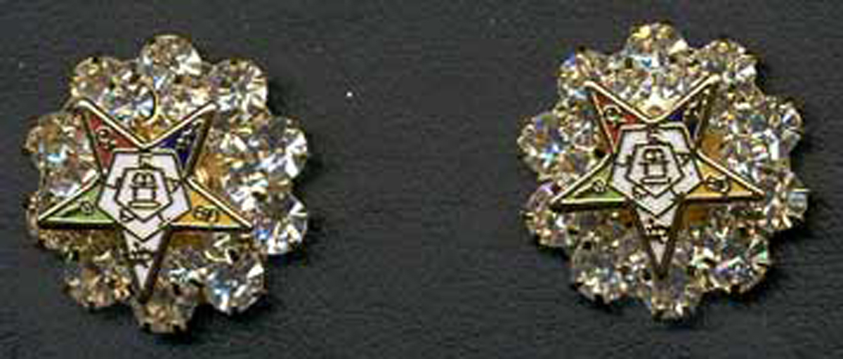 Eastern Star rhinestone pierced earrings