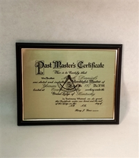 Past Master's on Brass Plate and Hardwood Frame