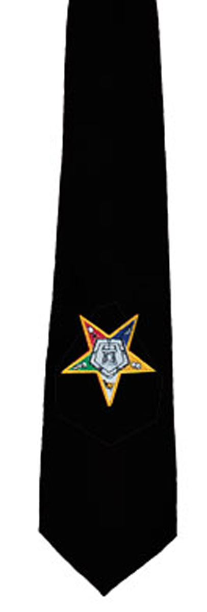 OES Tie - Black with Eastern Star