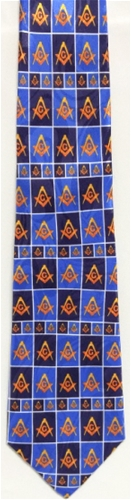 Masonic tie Navy blue & Royal blue pattern w/yellow emblems