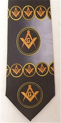 Masonic tie Navy Blue and Grey circle pattern w/yellow emblems