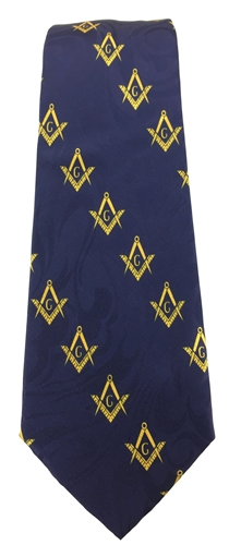 Masonic Navy Blue Tie with diagonal emblems
