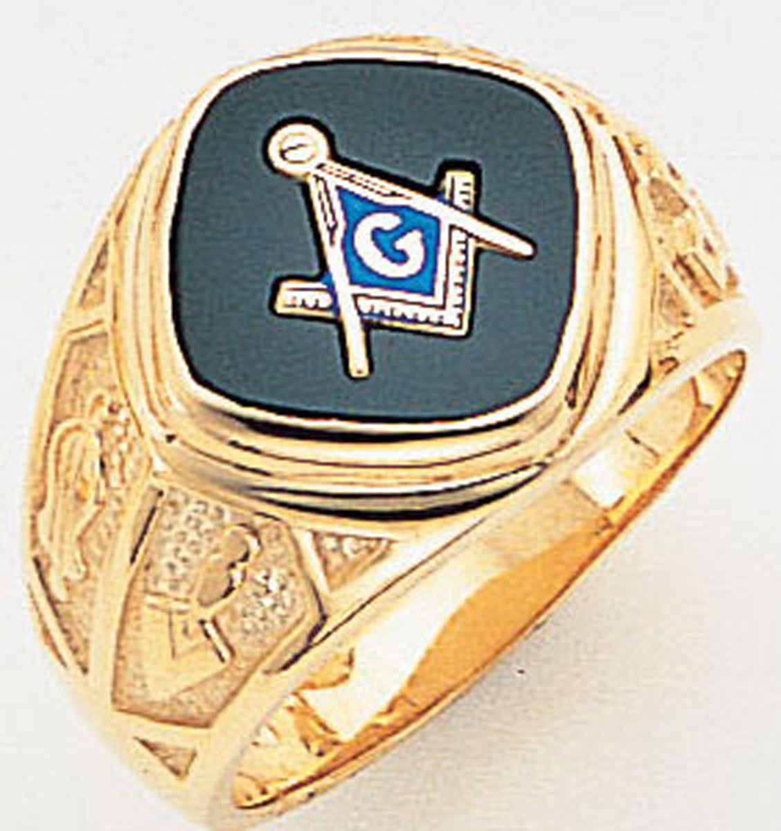 "Master Mason ring Diamond shaped stone & rounded edges with S&C and ""G""- Sterling Silver"