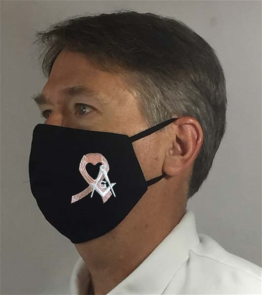 Breast Cancer Ribbon Black Masonic over Ears Face covering - 100% USA MADE
