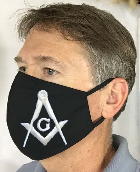 Large Square & Compass Black Masonic over Ears Face covering - 100% USA MADE