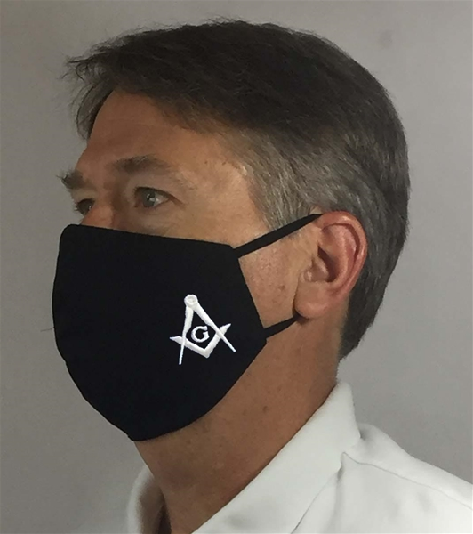 Black Masonic over Ears Face covering - 100% USA MADE
