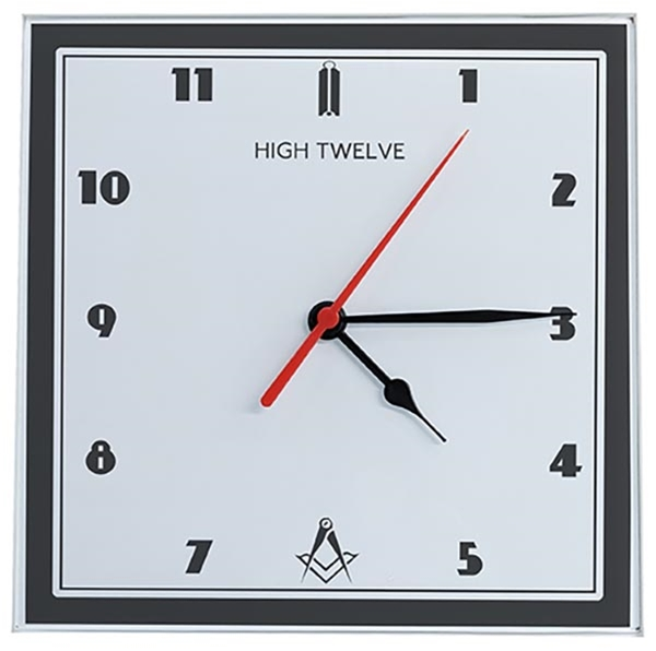 Masonic Glass High Twelve Clock 8""