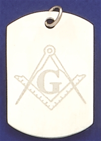 STERLING SILVER MASONIC ETCHED DISC TAG