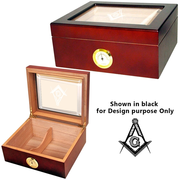 Cuban Crafters Mio Glass Top Humidor Masonic engraving