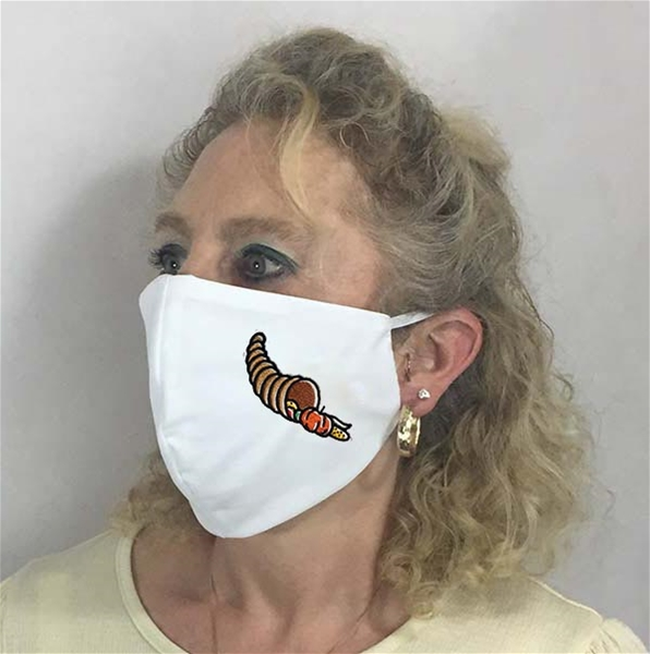 Thanksgiving Cornicopia Face Coverings w 6 inch Elastic - USA made to order