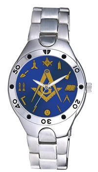 Masonic Watch w/ Working Tools around Blue Face