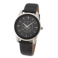 Masonic Watch w/ Black Leather Band - Silvertone