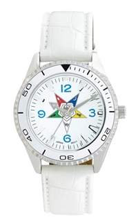 OES Watch w/ White Croc Embossed Strap - Silvertone