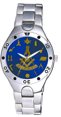 Past Master Watch w/ Working Tools around Blue Face