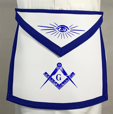 Royal Blue Leather Master Mason apron w/ Belt - Roadshow