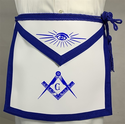 Royal Blue Leather Master Mason apron w/ C&T - Roadshow