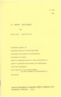 14 Brief Welcomes for White Shrine