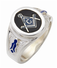 "Masonic ring Round stone with S&C and ""G"" - Sterling Silver"